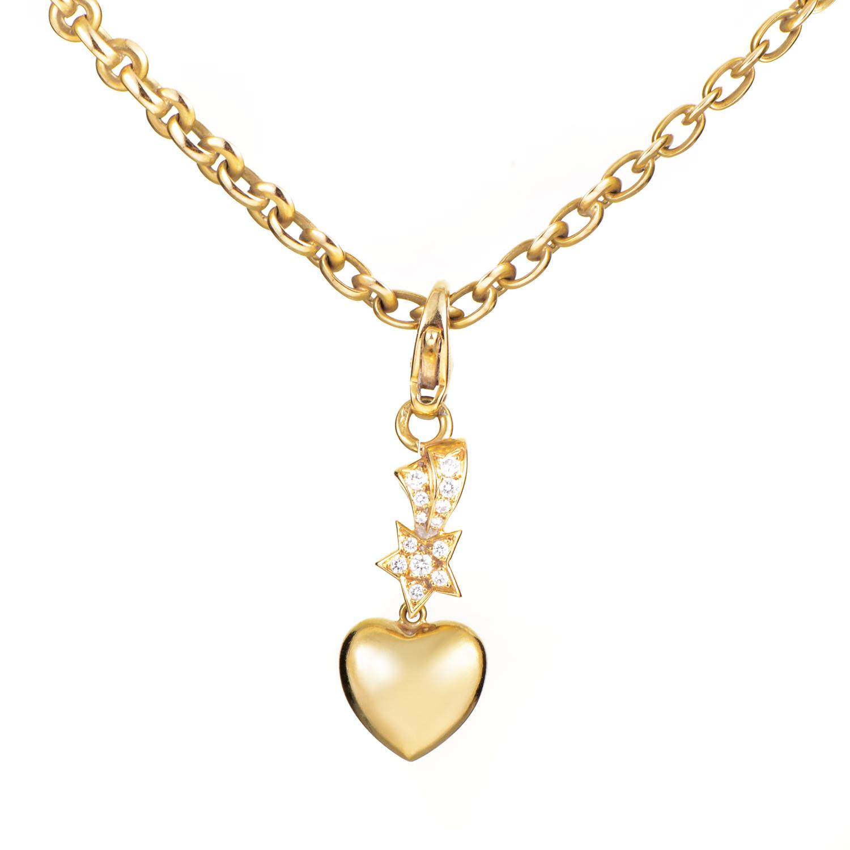 Chanel Comete Women's 18K Yellow Gold Diamond Charms Pendant Necklace