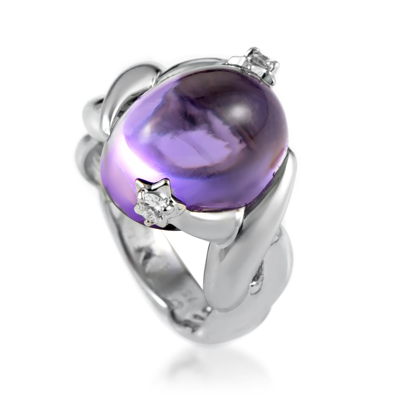 Chanel Women's 18K White Gold Diamond Star Amethyst Ring