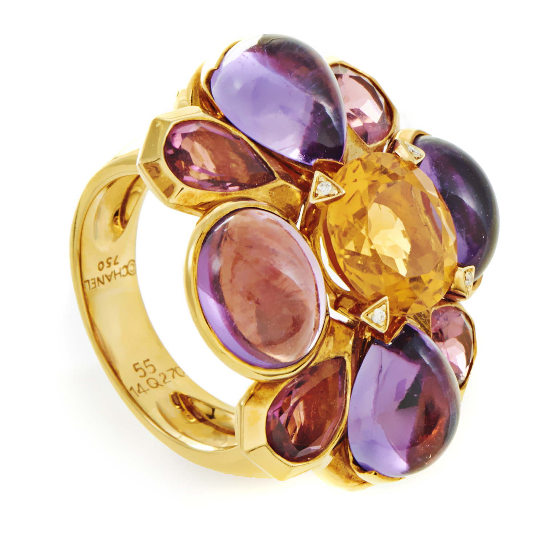 Chanel Women's 18K Yellow Gold Multi-Gemstone Cocktail Ring