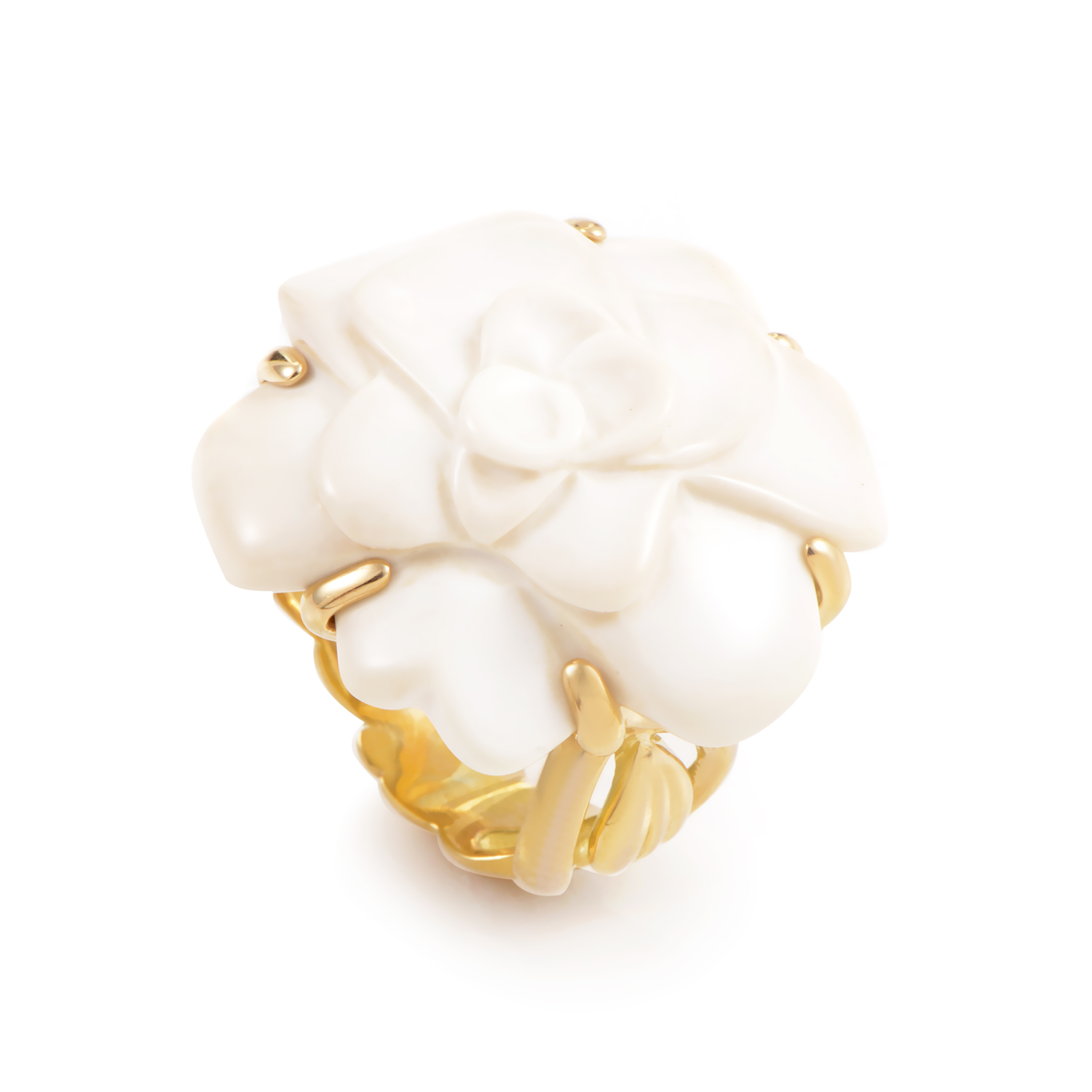 Chanel Camelia Women's Large 18K Yellow Gold White Agate Ring