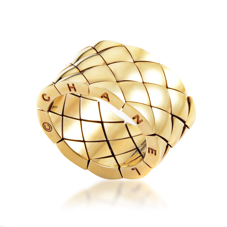 Chanel Matelasse Women's 18K Yellow Gold Wide Band Ring