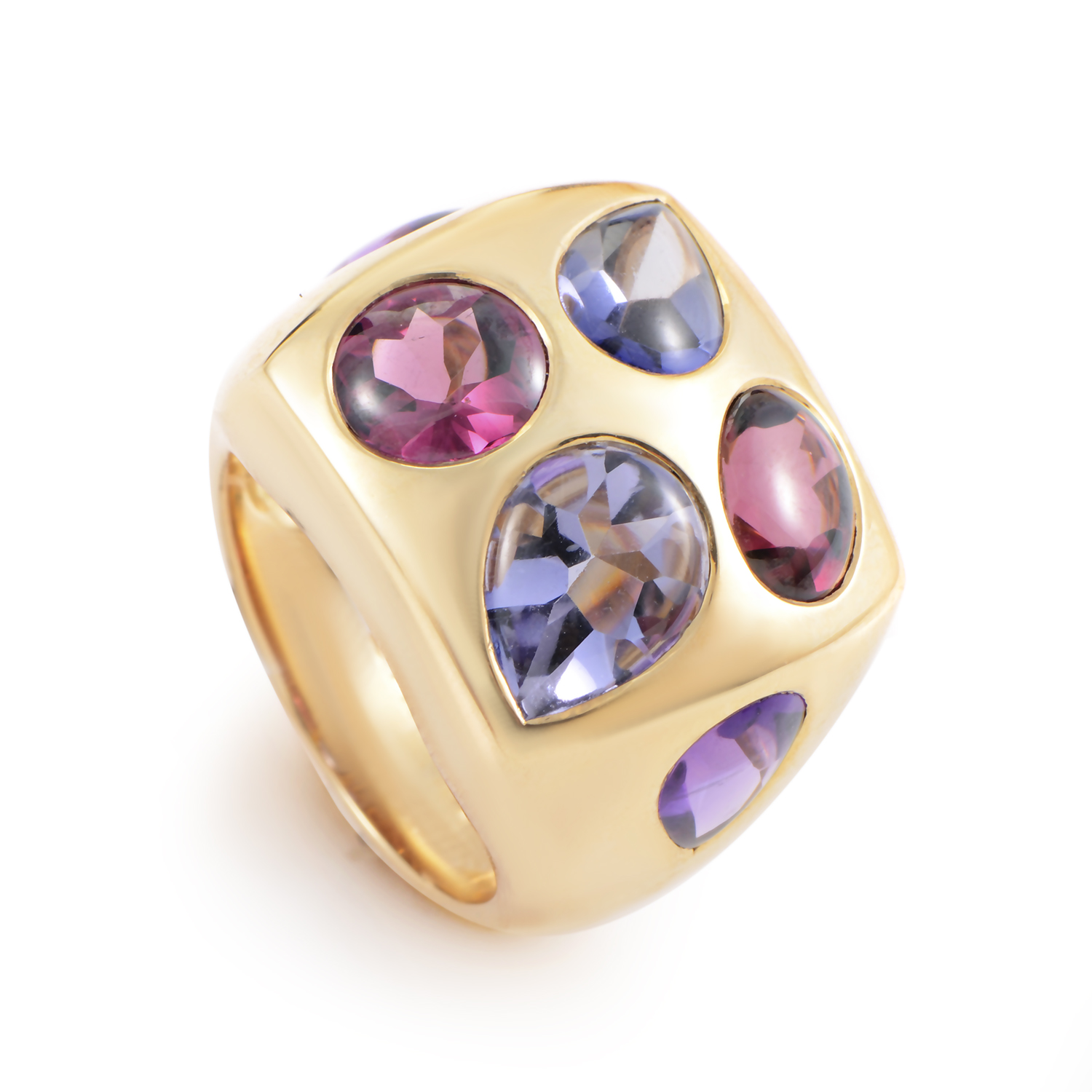 Chanel 18K Yellow Gold Amethyst Iolite Tourmaline Ring
