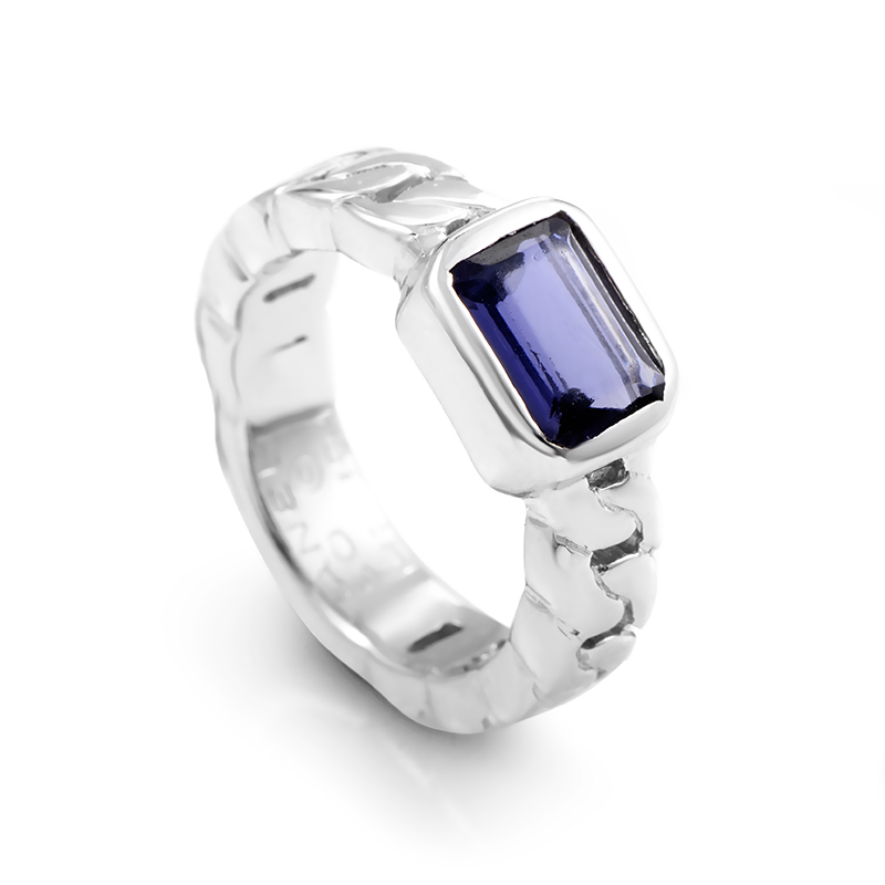 Chanel Women's Braided 18K White Gold Iolite Ring