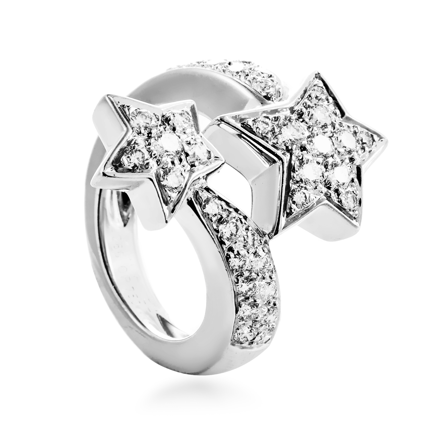 Chanel Comete Womens 18K White Gold Partial Diamond Pave Star Ring