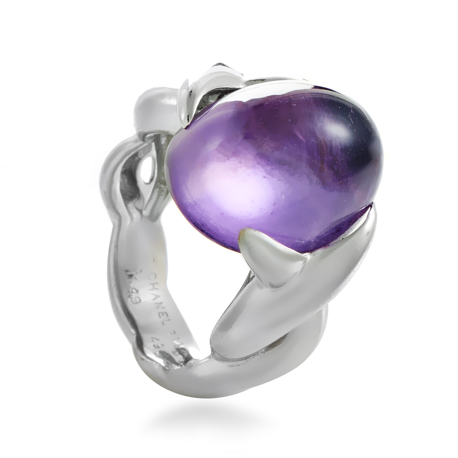Chanel Women's 18K White Gold Amethyst Cabochon Ring