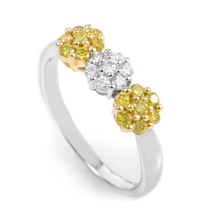18K White & Yellow Gold Diamond Daisy Ring 02-09-7235-11