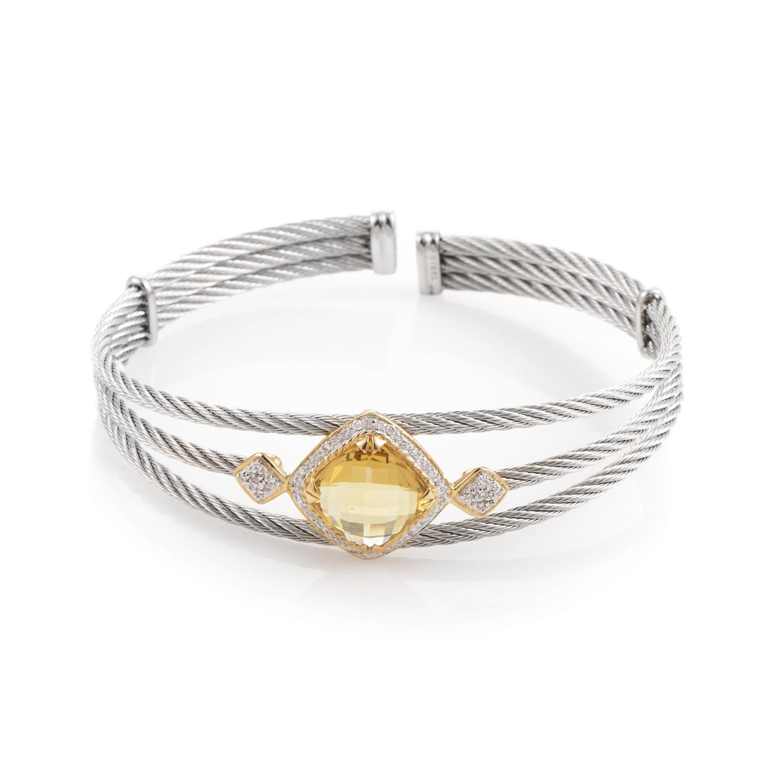 Celtic 18K Stainless Steel Yellow Citrine & Diamond Cable Bangle Bracelet