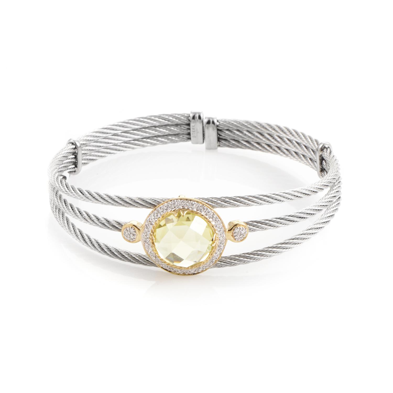 Celtic 18K Stainless Steel Lemon Citrine & Diamond Cable Bangle Bracelet