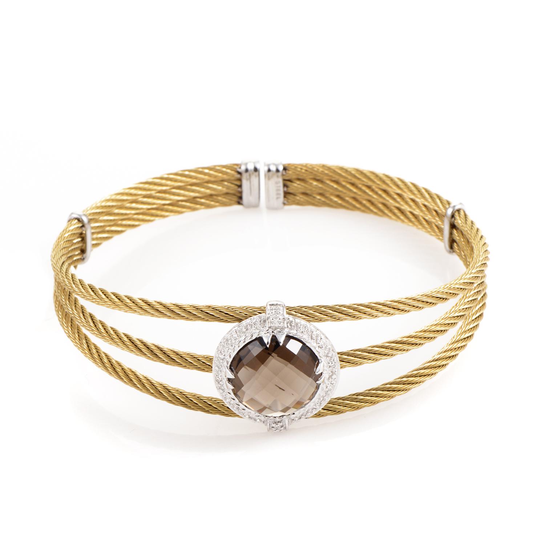 Celtic 18K Treated Stainless Steel Smokey Quartz & Diamond Cable Bangle Bracelet