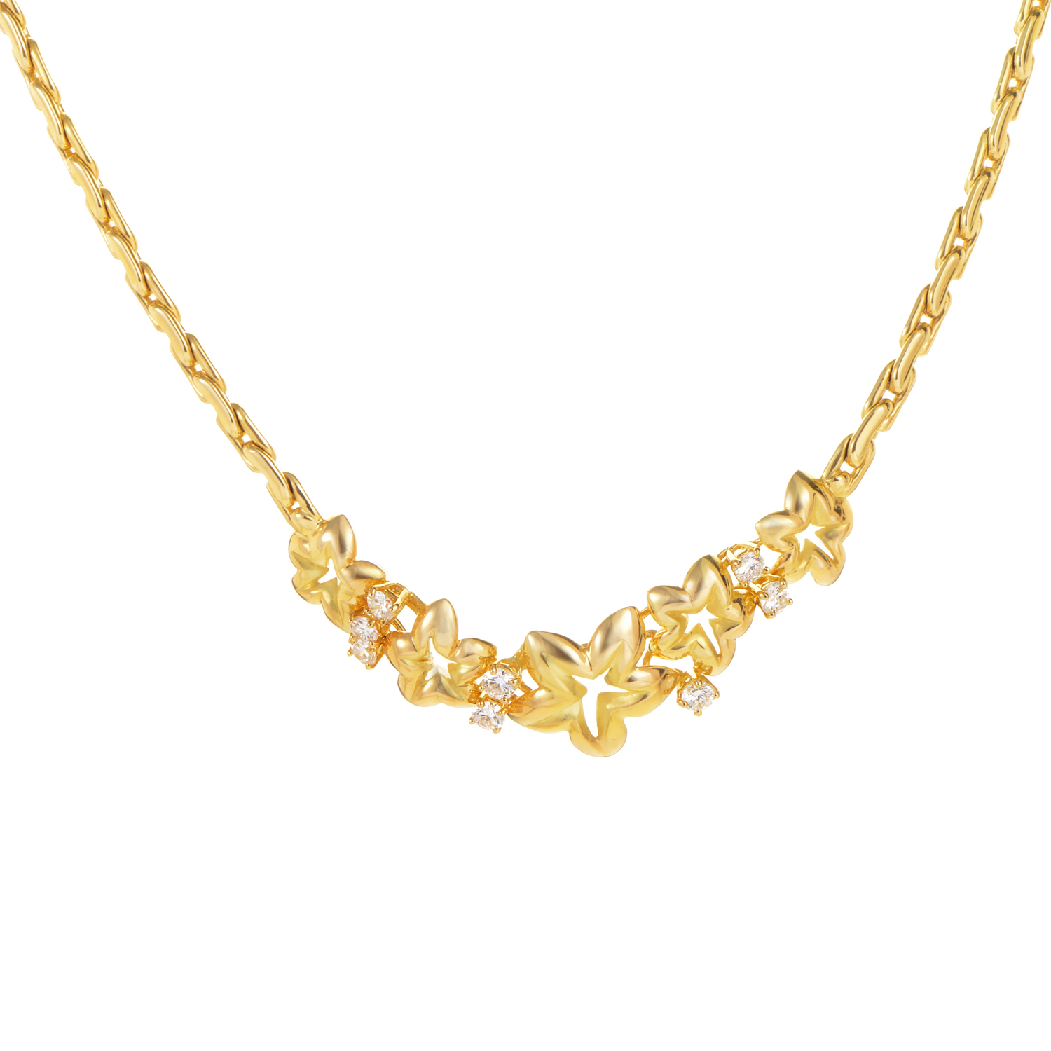 Chaumet 18K Yellow Gold Diamond Floral Star Necklace