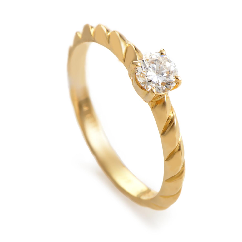 Chaumet Torsade 18K Yellow Gold Diamond Solitaire Engagement Ring