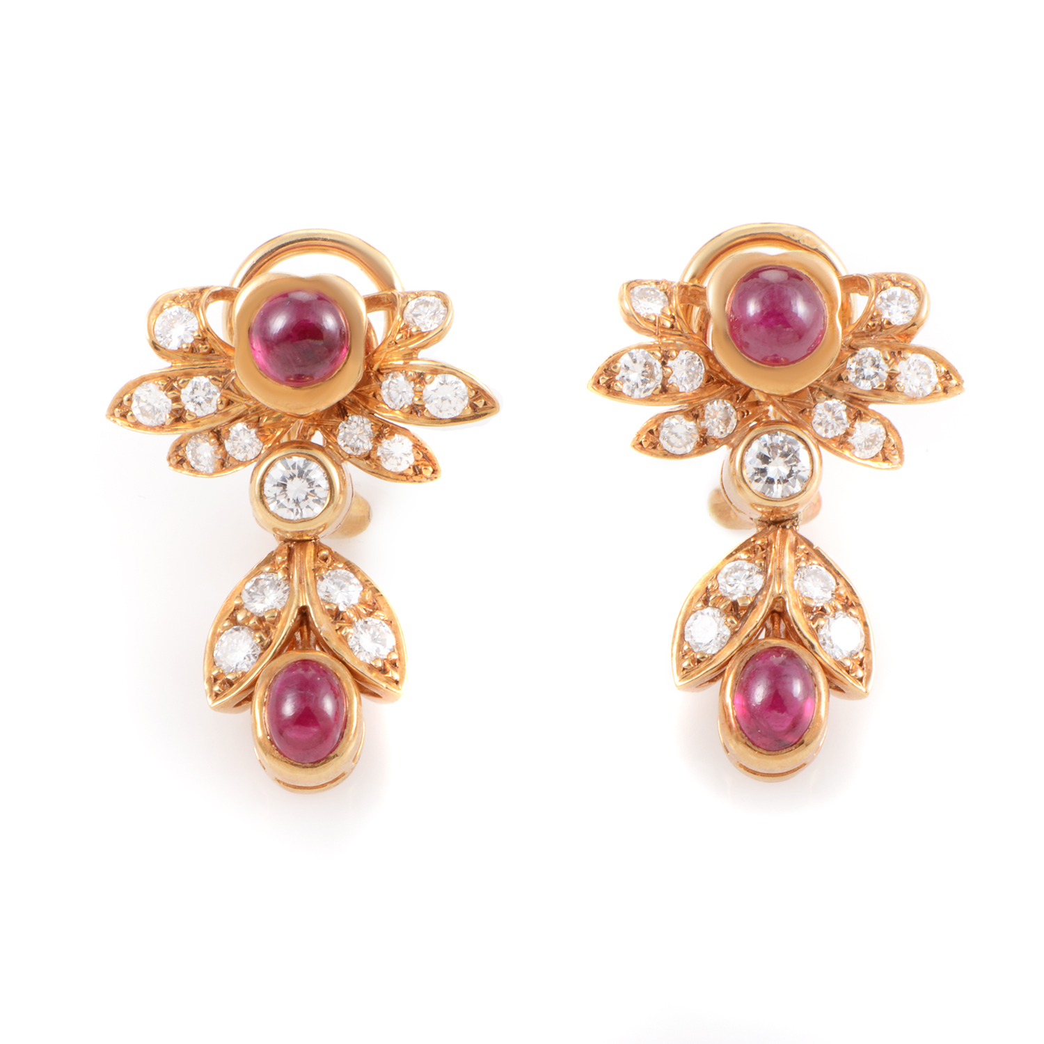 Chaumet 18K Yellow Gold Diamond & Ruby Clip-on Earrings