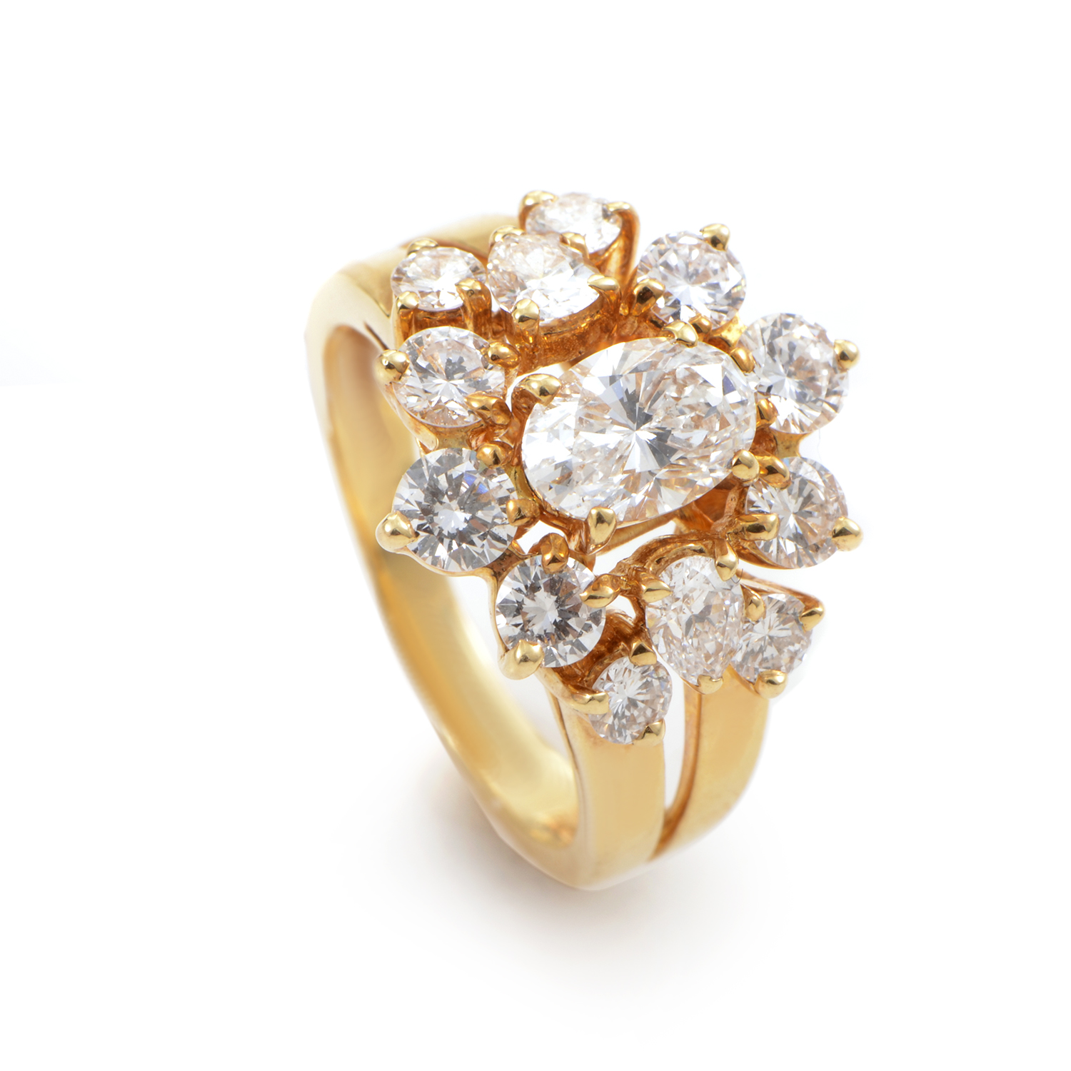 Chaumet 18K Yellow Gold Diamond Cluster Ring