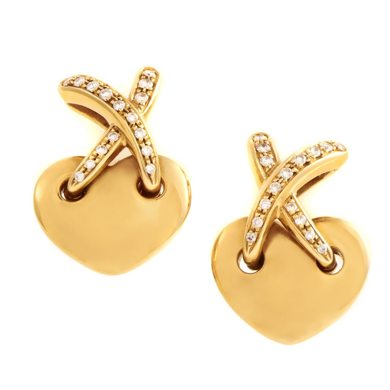 Chaumet Liens Women's 18K Yellow Gold Diamond Heart Clip-on Earrings