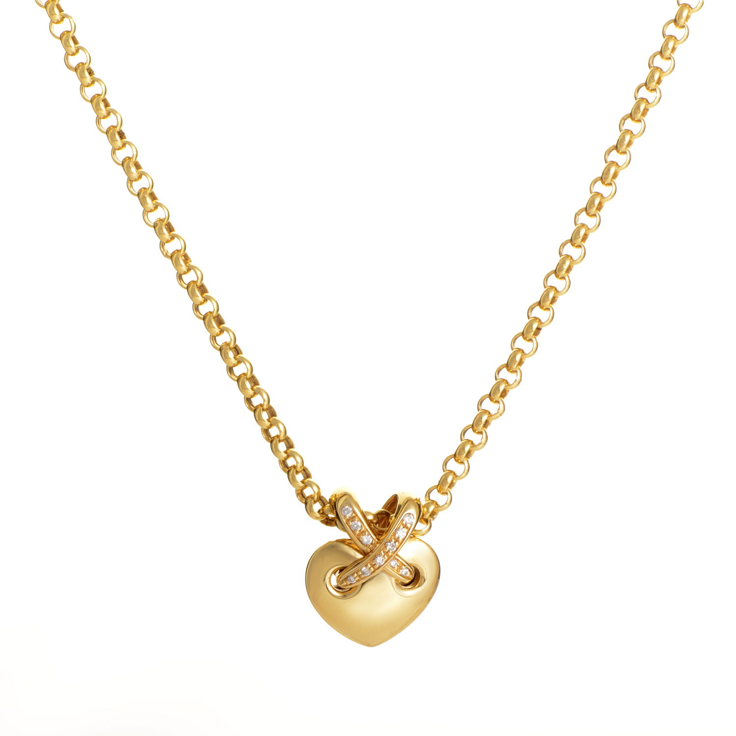 Chaumet Liens 18K Yellow Gold Diamond Heart Pendant Necklace