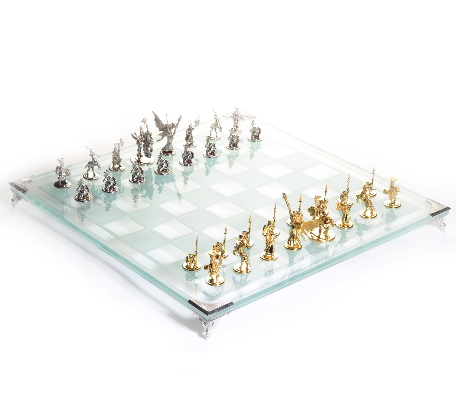 14K White & Yellow Gold Tempered Glass Chess Set
