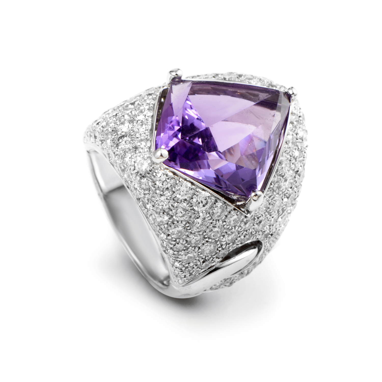 Illusione 18K White Gold Diamond Pave Amethyst Ring 1A05095B15140