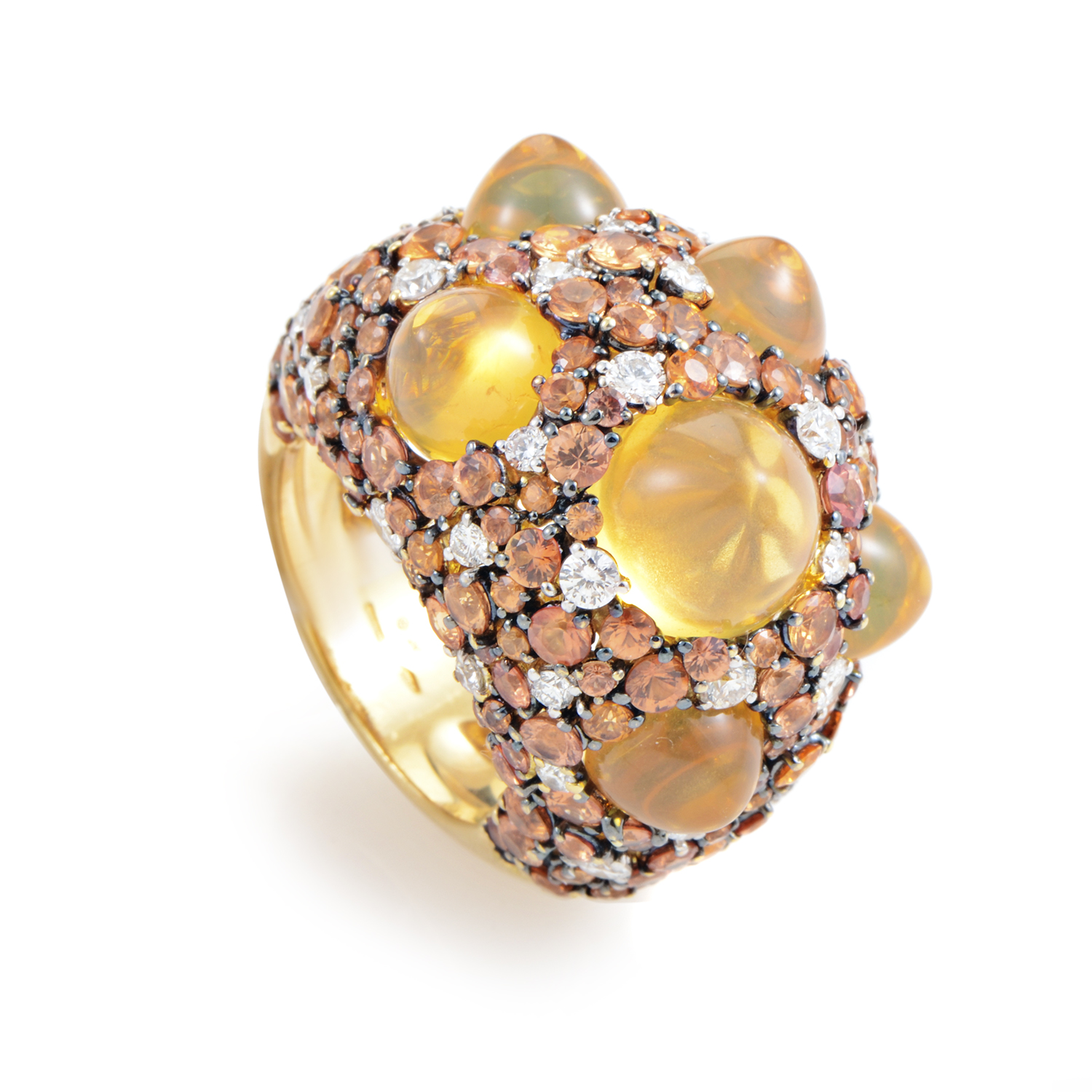 Moonrise 18K Yellow Gold Orange Gem & Diamond Ring