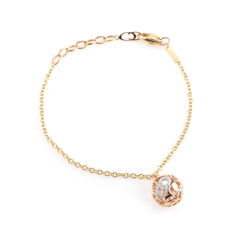18K Tri-Gold Diamond Charm Bracelet 82489268