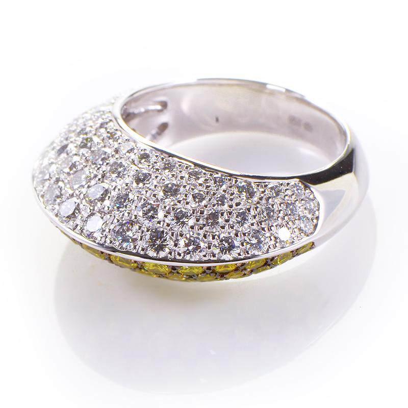 18K White Gold & Multi-Tone Diamond Ring