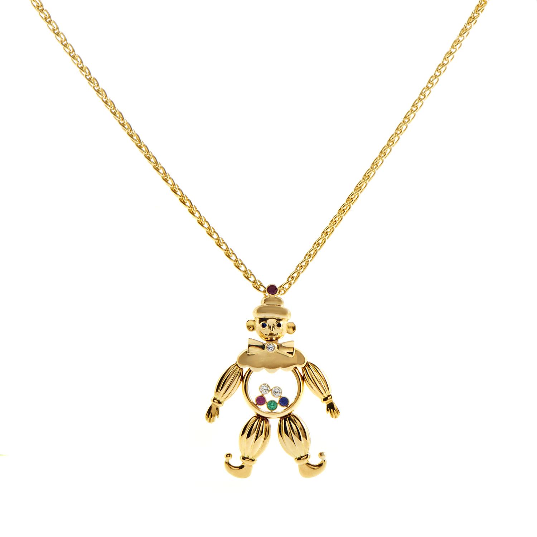 Chopard Happy Diamonds 18K Yellow Gold Precious Gemstone Clown Pendant Necklace