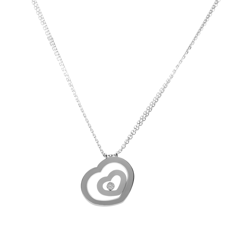 Chopard Happy Spirit 18K White Gold Floating Diamond Heart Pendant Necklace