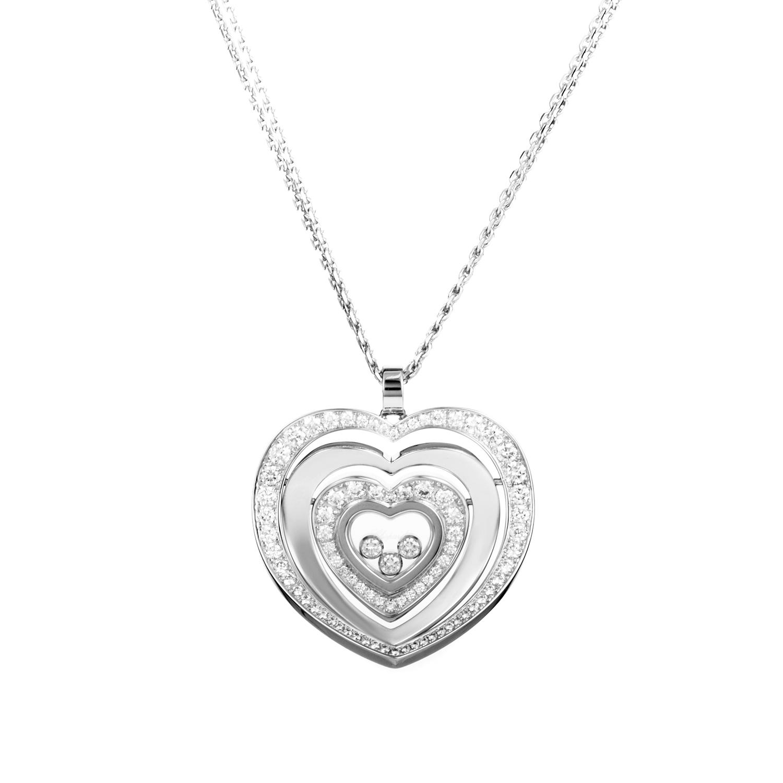 Happy Diamonds 18K White Gold Heart Pendant Necklace 797221-1002