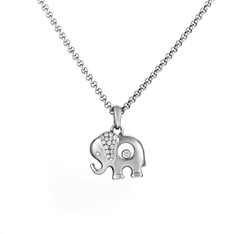 Chopard Happy Diamonds Women's 18K White Gold Elephant Pendant Necklace