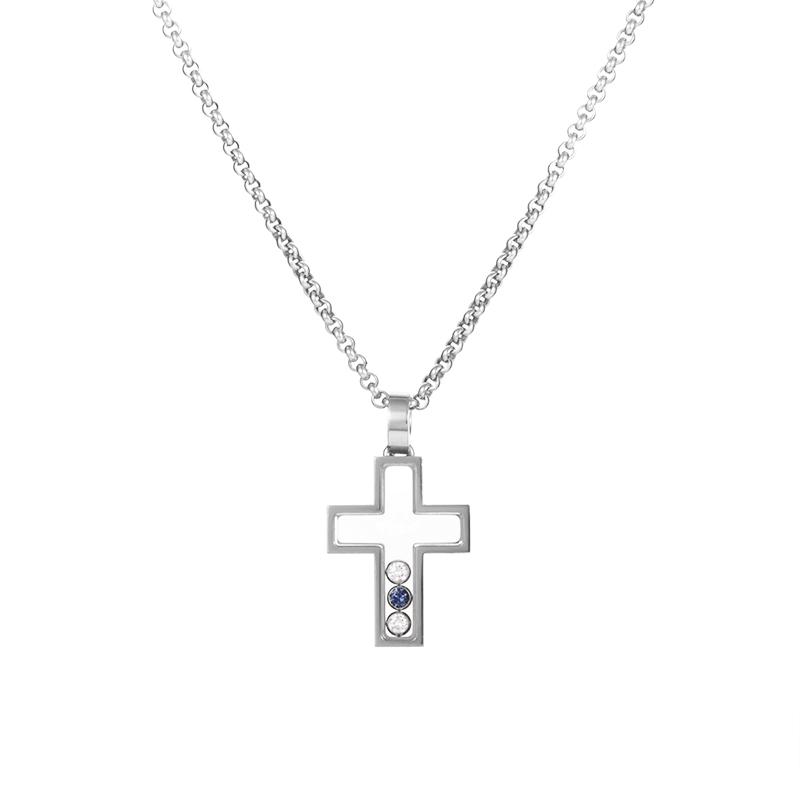 Chopard Happy Spirit Crucifix 18K White Gold Gemstone Pendant Necklace