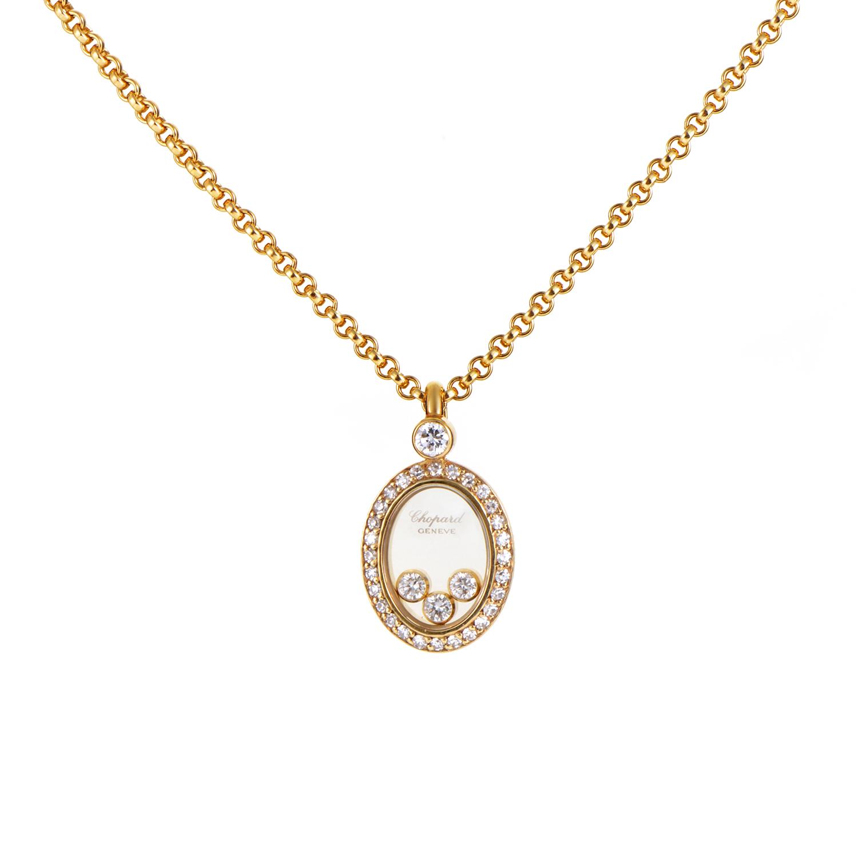 Chopard Happy Diamonds Women's 18K Yellow Gold Oval Pendant Necklace