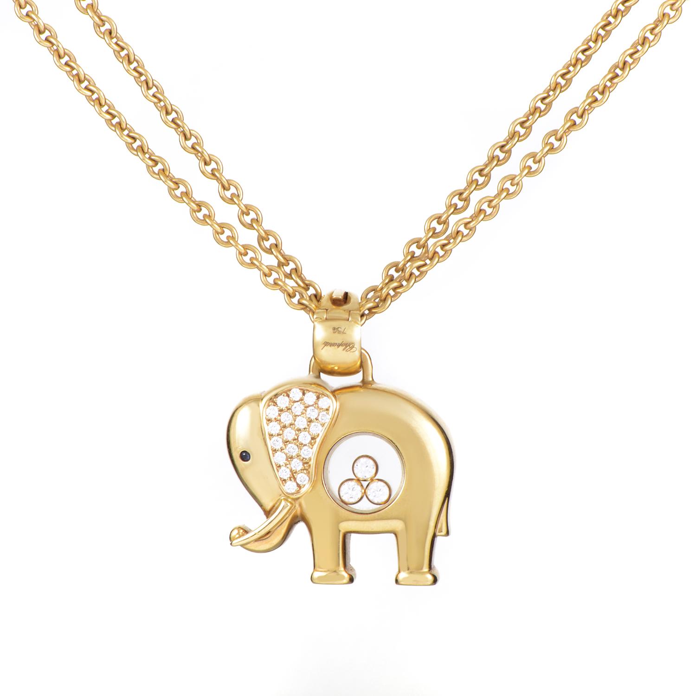 Chopard Happy Diamonds 18K Yellow Gold Elephant Pendant Necklace