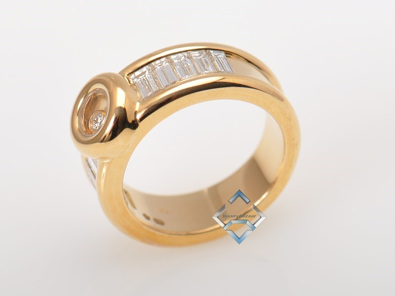 Wonderful 18K Yellow Gold Happy Diamonds Baguette Ring