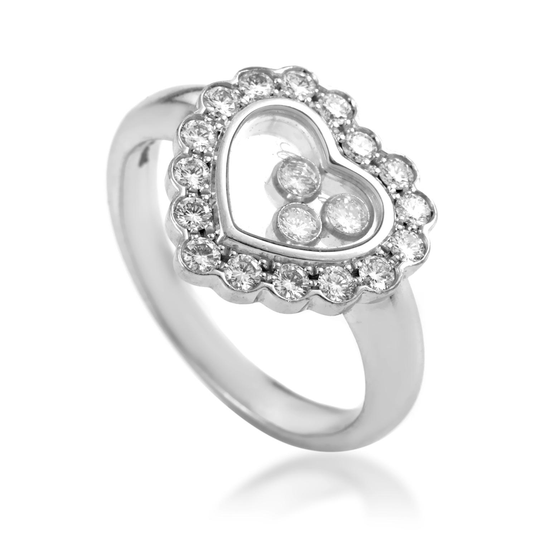Chopard Happy Diamonds Women's 18K White Gold Heart Ring 82/4758