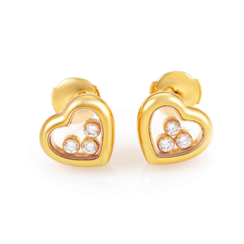 Chopard Women's Happy Diamonds 18K Yellow Gold 3 Floating Diamond Small Heart Stud Earrings 83/4611-20
