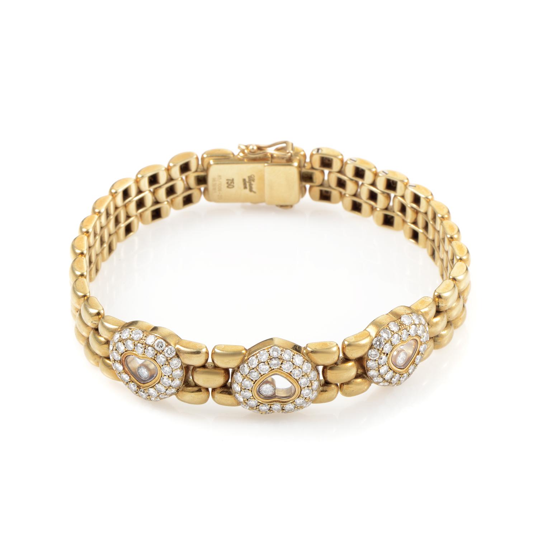 Chopard Happy Diamonds Women's 18K Yellow Gold 3 Heart Bracelet