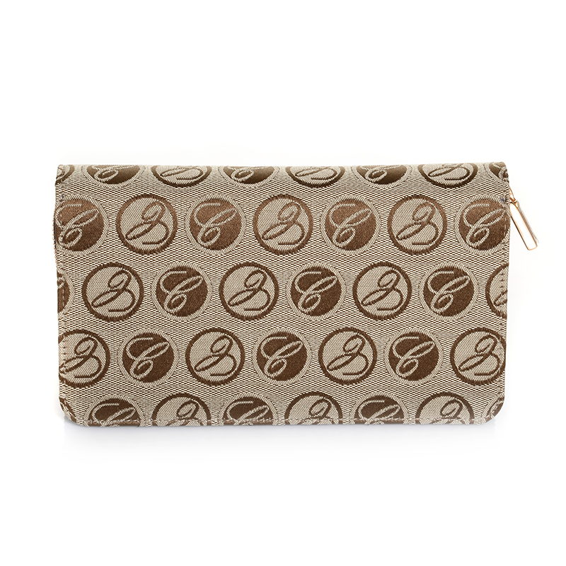 Caroline Brown Logo Cloth/Leather Medium Wallet 95015-0131