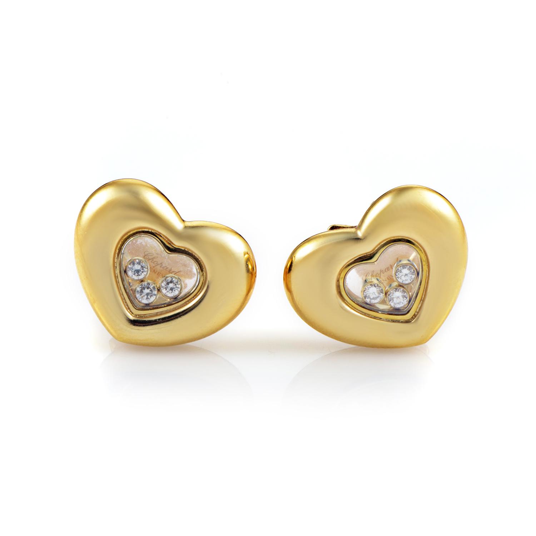 Chopard Happy Diamonds Women's 18K Yellow Gold Heart Clip-on Earrings