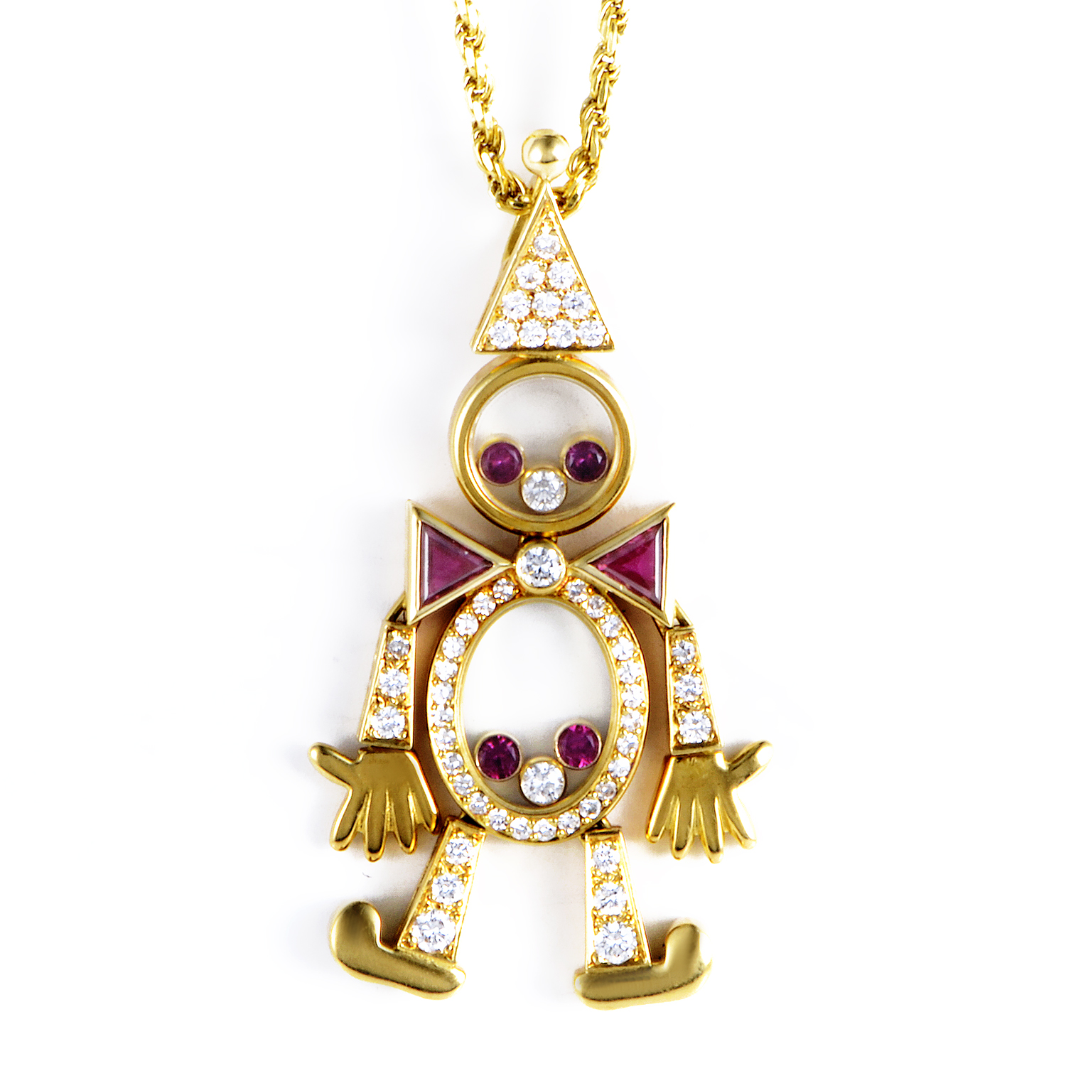 Chopard Vintage 18K Yellow Gold Diamond & Ruby Clown Pendant Necklace