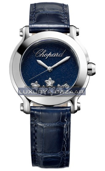 Happy Sport 150TH Anniversary Edition (SS / Blue / Diamonds / Strap)