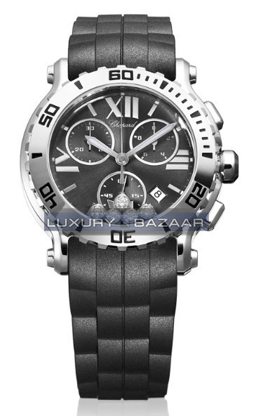 Happy Sport Round 5 Diamonds Chronograph  (SS / Black / Diamonds / Rubber)