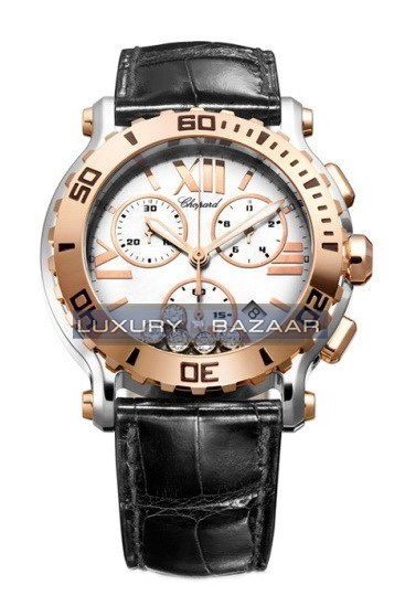 Happy Sport Round 5 Diamonds Chronograph (RG / SS / Black / Diamonds / Strap)