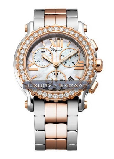Happy Sport Round 5 Diamonds Chronograph (RG / SS / White / Diamonds / Bracelet)
