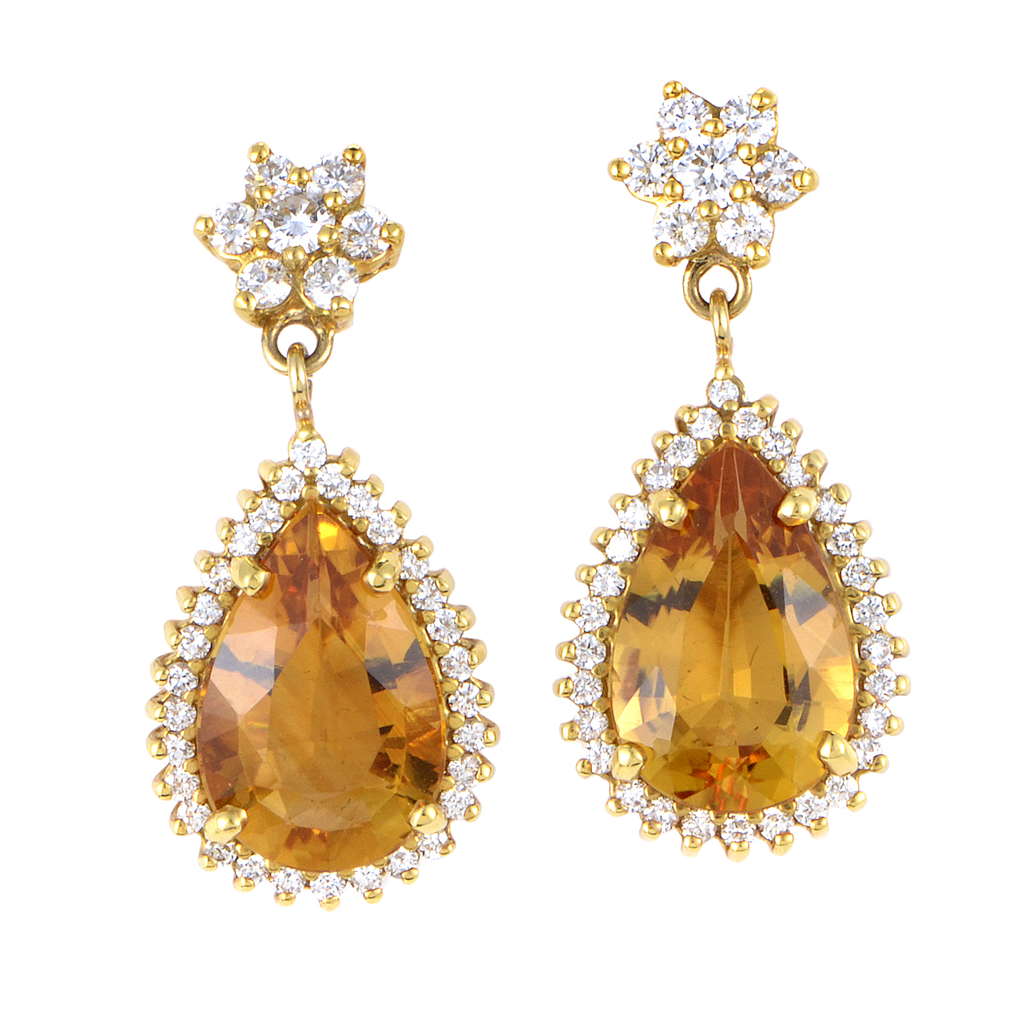 Women's 18K Yellow Gold Diamond & Citrine Dangle Earrings