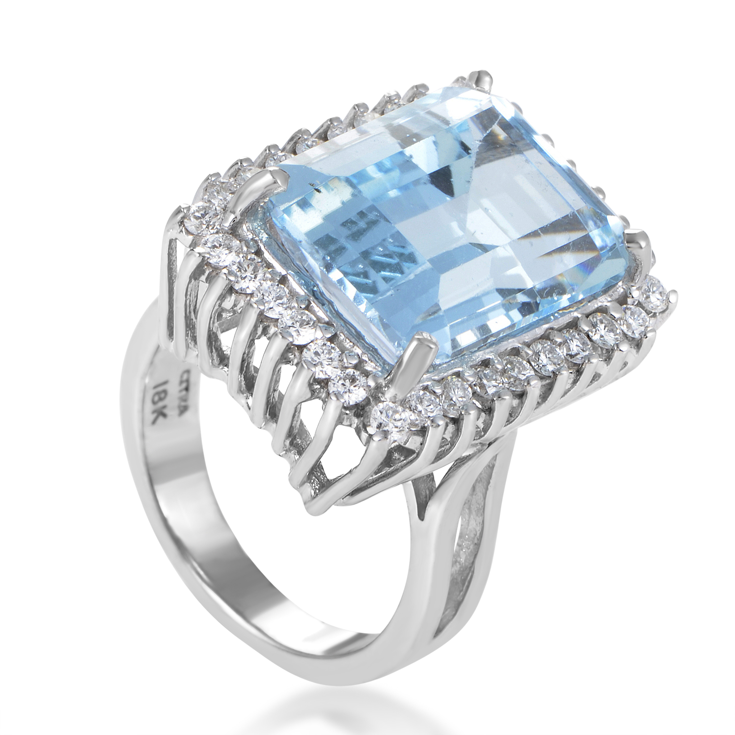 Women's 18K White Gold Diamond & Topaz Ring CI001