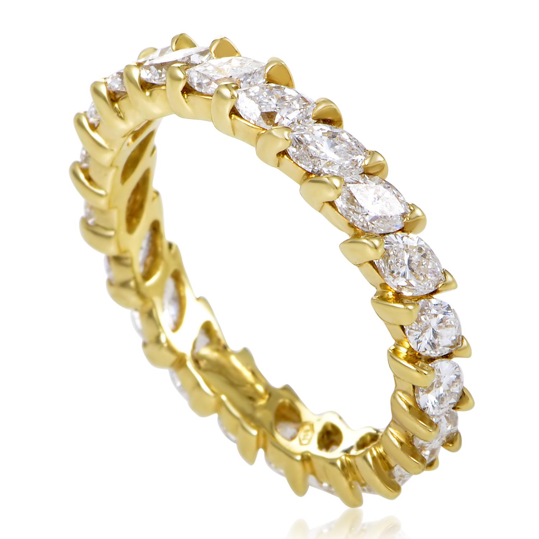 Women's 18K Yellow Gold Marquise Diamond Eternity Band Ring