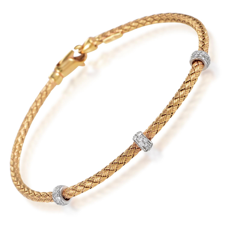 Women's 14K Rose & White Gold Braided Diamond Bracelet