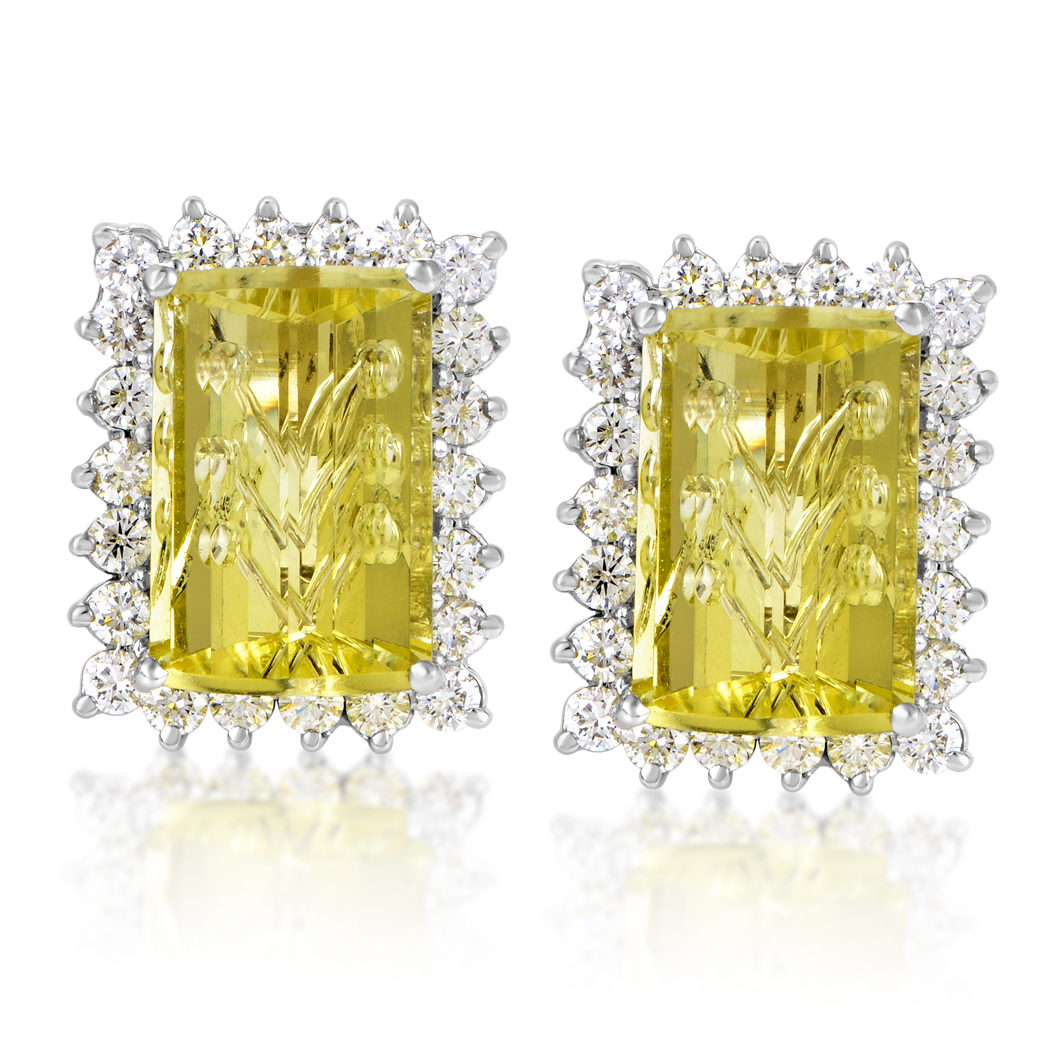 Women's 18K White Gold Diamond & Lemon Quartz Earrings