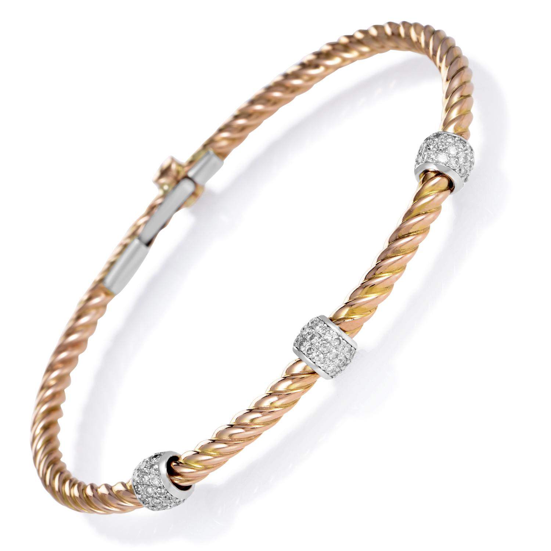 Women's 14K Rose & White Gold Braided Diamond Bracelet CI460