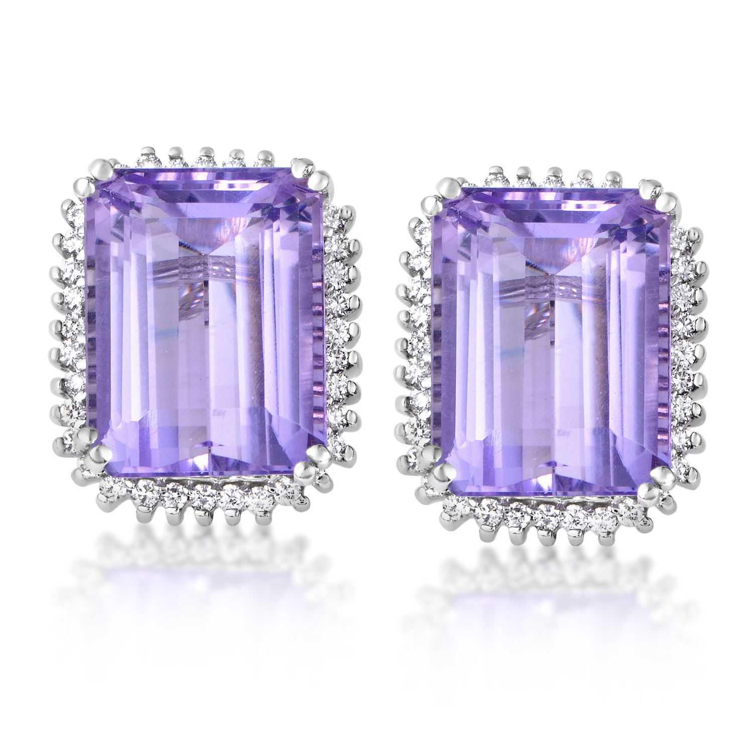 Women's 14K White Gold Diamond & Amethyst Stud Earring
