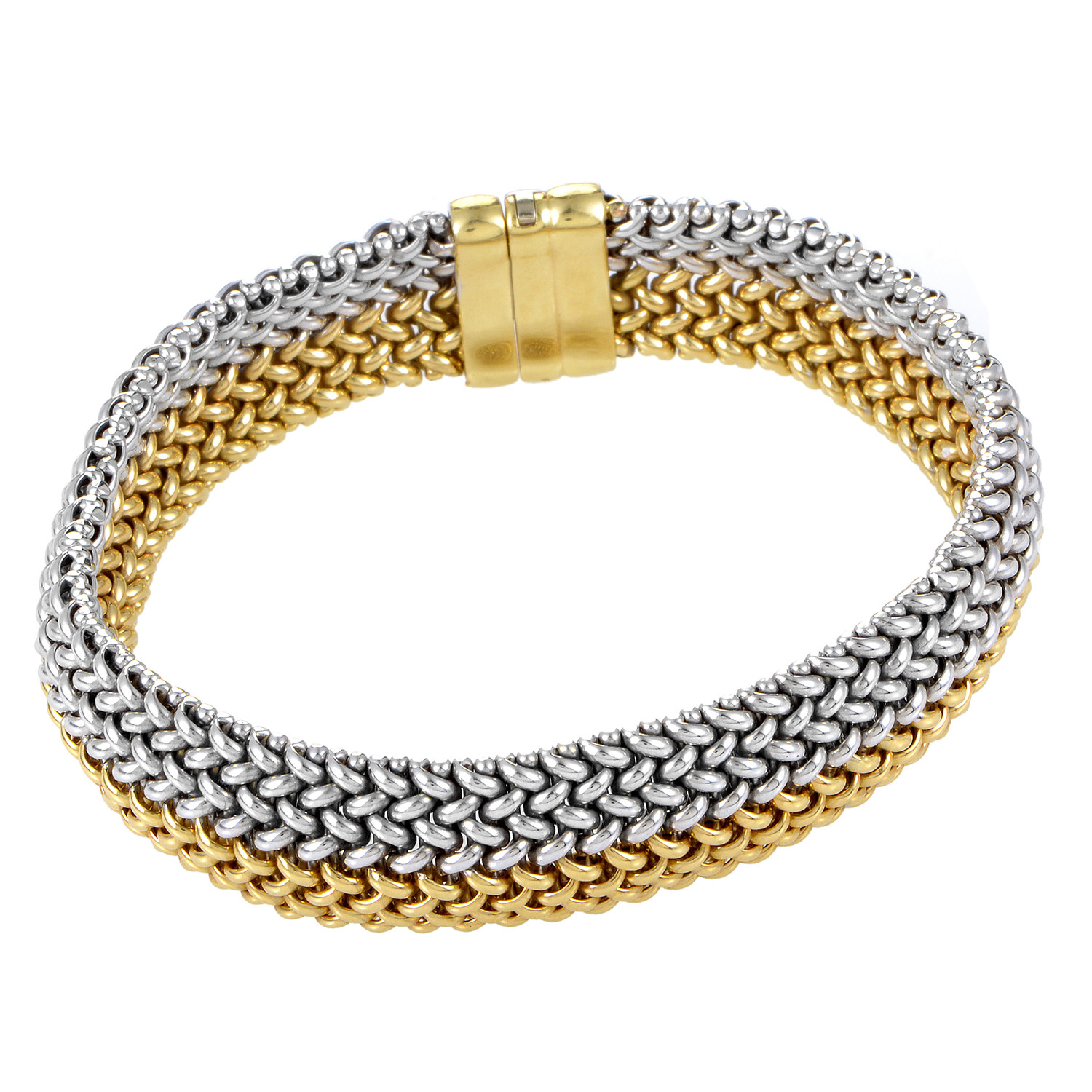 Women's 18K White & Yellow Gold Mesh Bracelet